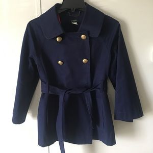 J.crew  Belted Short Trench Coat Size 4 navy